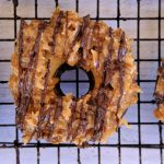 baked doughnut, baked doughnut recipe, easy baked doughnut recipe, free online doughnut recipes, baked doughnut ideas, breakfast recipes, easy breakfast recipes, homemade breakfast recipe, breakfast baking recipes, easy baking recipes, quick baking recipes, Samoa doughnuts, doughnut recipe with Samoa topping, Samoa recipe, how to make Samoa Cookie, Samoa girl scout cookie recipe,