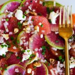 watermelon radish recipe, easy watermelon radish recipes, recipes using watermelon radish, salad recipes, easy salad recipes, salad recipe with watermelon radishes, radish salad, radish and goat cheese salad