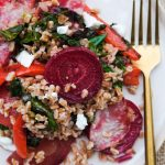 roasted beet salad, how to roast beets, easy roast beet recipe, farro, farro salad recipe, how to cook farro, farro recipes, salad recipes, healthy salad recipes, hearty salad recipes, beet greens recipes