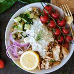 quinoa bowl, easy quinoa bowl, healthy quinoa bowl recipe, chicken quinoa bowl recipe, greek style chicken, greek marinated chicken, tzatziki sauce, greek quinoa bowl, healthy dinners, healthy bowls,
