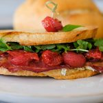 blt, how to make a blt, easy blt recipe, sandwich recipes, lunch sandwich recipe, sandwich recipe with bacon, sandwich recipe with goat cheese, roasted cherry tomatoes