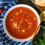 tomato soup, creamy tomato soup recipe, how to make a creamy tomato soup,homemade tomato soup, homemade tomato soup with canned tomatoes, san marzano tomato soup,