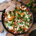 how to make Shakshuka, easy Shakshuka recipe, what is Shakshuka, Shakshuka with eggplant, eggs in purgatory, eggs in spicy tomato sauce, savory egg recipe, eggs in a spicy tomato sauce, baked eggs in tomatoes,
