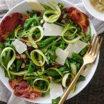 easy arugula salad, homemade arugula salad recipes, pancetta and asparagus, asparagus salad, sugar snap pea salad, pancetta crips, shallot vinaigrette