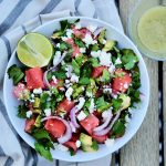 watermelon salad, easy watermelon salad recipe, quick watermelon salad recipe, grilled watermelon, how to grill watermelon, side dish recipe, easy side dishes for summer, summer side dish recipe, summer grilling recipes, summer side dish grilling recipes, grilling recipes, healthy sides,