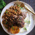 Lamb Meatballs recipe, easy lamb meatballs, one pot dinner recipe, one pan dinner recipe, easy dinner recipe, easter dinner recipe, easy easter dinner recipe, quick easter dinner recipe, whipped feta, farro, how to cook farro, farro recipe, farro risotto