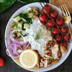 quinoa bowl, easy quinoa bowl, healthy quinoa bowl recipe, chicken quinoa bowl recipe, greek style chicken, greek marinated chicken, tzatziki sauce, greek quinoa bowl, healthy dinners, healthy bowls,