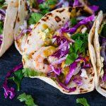Easy shrimp tacos, how to make shrimp tacos, shrimp tacos recipes, quick shrimp tacos recipe, seafood tacos, summer tacos, tacos for summer, 5 minute taco recipe, mango chipotle sauce, homemade mango sauce, shrimp tacos with mango, tacos with mango,