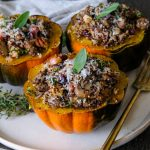 acorn squash, acorn squash recipe, stuffed acorn squash, stuffed acorn squash for fall, fall inspired dinner recipe, easy sides for thanksgiving, thanksgiving sides, side dish recipes, healthy dinner recipe, quinoa stuffed acorn squash recipe