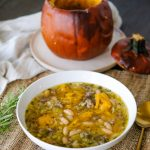 whole roasted pumpkin soup, pumpkin soup roasted in a pumpkin, soup recipe for fall, pumpkin soup, easy pumpkin soup recipe, pumpkin soup recipe not pureed, hearty pumpkin soup, fall soup recipe, fall soup recipe with pumpkin,