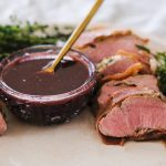 prosciutto wrapped pork tenderloin, pork tenderloin recipes, easy pork tenderloin recipe, sous vide pork tenderloin recipe, sous vide pork tenderloin recipes, how to sous vide pork, how to cook pork tenderloin, blackberry sauce recipe, blackberry demi glace sauce, homemade demi glace, homemade blackberry sauce
