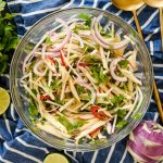 kohlrabi, kohlrabi recipes, easy kohlrabi recipes, kohlrabi side dish recipes, side dish recipes using kohlrabi, kohlrabi slaw recipe, spicy slaw, slaw recipe without mayonnaise, no mayo slaw, side dish recipes, vegan side dish recipes, easy vegan side dish recipes, summer side dish recipes